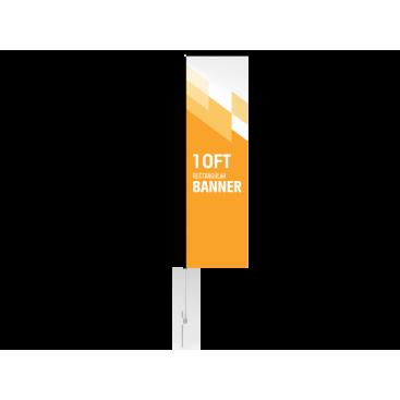10ft Custom Rectangular Flag with Ground Stake