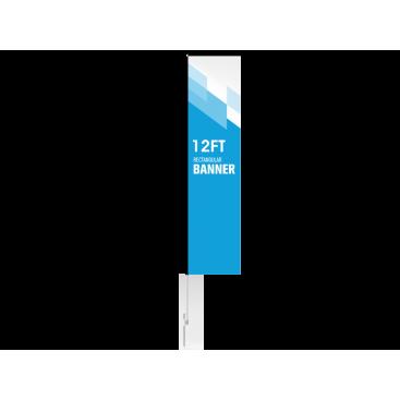 12ft Custom Rectangular Flag with Ground Stake