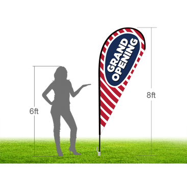 8ft GRAND OPENING Stock Teardrop Flag with Ground Stake 03