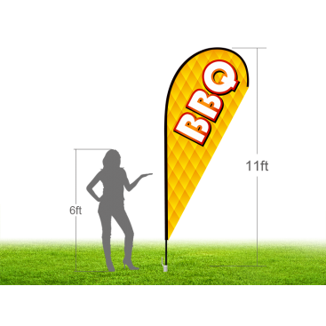 11ft BBQ Stock Teardrop Flag with Ground Stake 02