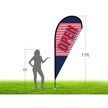 11ft OPEN Stock Teardrop Flag with Ground Stake 03