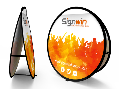 Large Circular Pop Up A-Frame Banner Stand