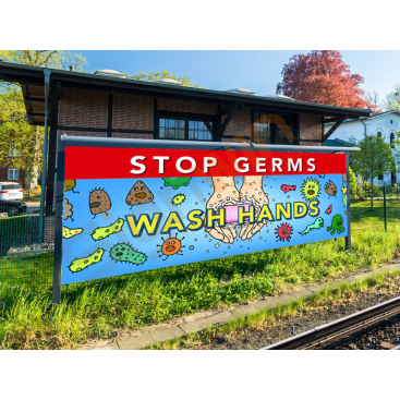 Stop Germs/Cold/Flu Wash Hands Banner for Safety 01