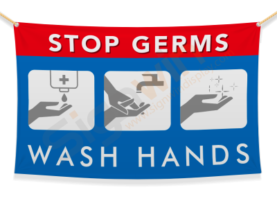 Stop Germs/Cold/Flu Wash Hands Banner for Safety 02
