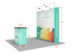 Custom 8ft Curved & Velcro Fabric Pop Up Trade Show Booth Backwall Display with Premium Case to Podium (Frame + Graphic)