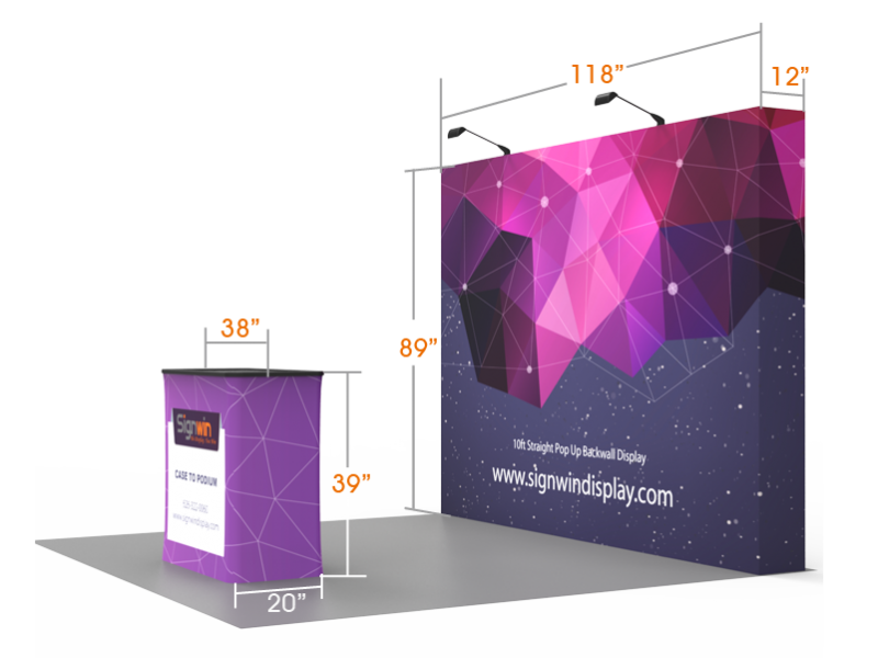 46a81598b955 10ft Flat   Foldable Pop Up Backwall Display with Premium Case to Podium