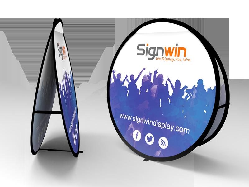 medium circular pop up a frame banner stand signwin
