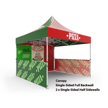 10x10 Custom Pop Up Canopy Tent & Single-Sided Full Backwall & 2 x Single-Sided Half Sidewalls