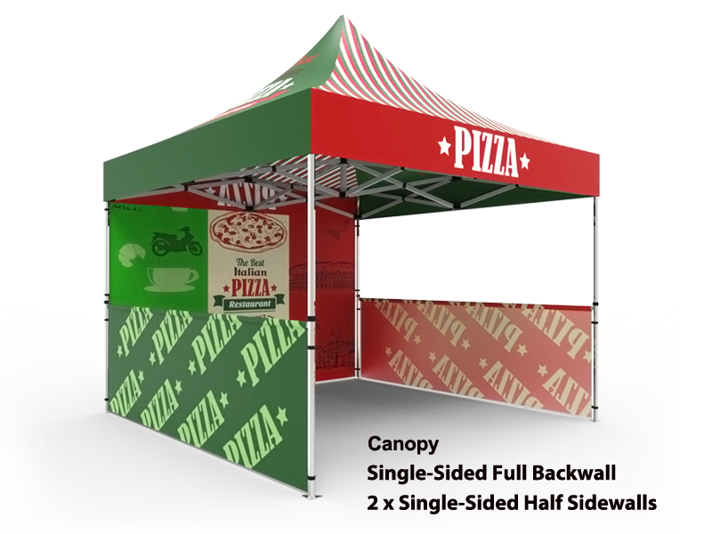 10x10 Custom Pop Up Canopy Tent u0026 Single-Sided Full Backwall u0026 2 x Single  sc 1 st  Signwin & 10x10 Tent u0026 1-Sided Backwall u0026 2 x 1-Sided Half Sidewalls - Signwin