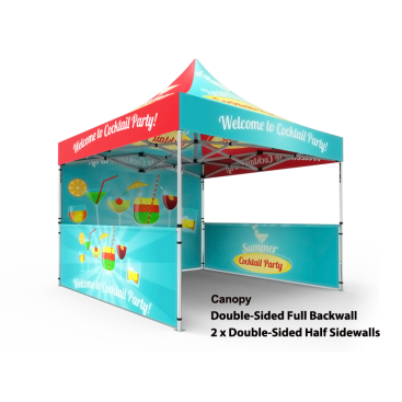 10x10 Custom Pop Up Canopy Tent & Double-Sided Full Backwall & 2 x Double-Sided Half Sidewalls