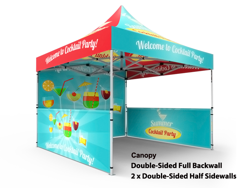 10x10 Custom Pop Up Canopy Tent u0026 Double-Sided Full Backwall u0026 2 x Double  sc 1 st  Signwin & 10x10 Tent u0026 2-Sided Backwall u0026 2 x 2-Sided Half Sidewalls - Signwin
