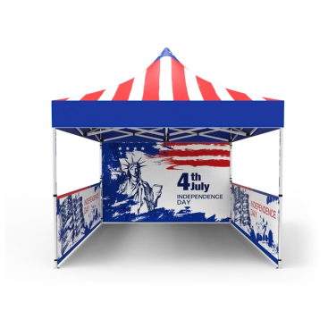 10x10 Custom Pop Up Canopy Tent & Single-Sided Full Backwall & 2 x Double-Sided Half Sidewalls