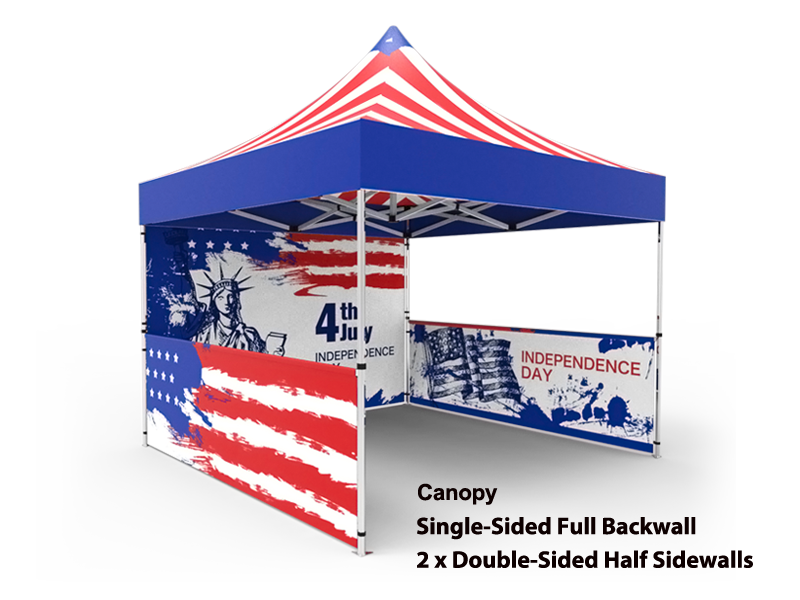 10x10 Custom Pop Up Canopy Tent u0026 Single-Sided Full Backwall u0026 2 x Double  sc 1 st  Signwin & 10x10 Tent u0026 1-Sided Backwall u0026 2 x 2-Sided Half Sidewalls - Signwin