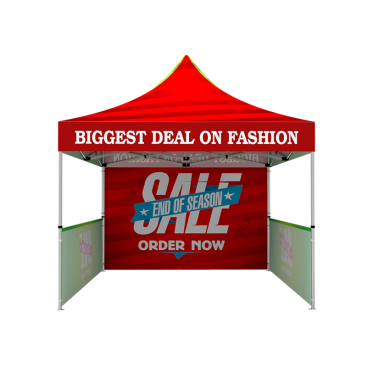 10x10 Custom Pop Up Canopy Tent & Double-Sided Full Backwall & 2 x Single-Sided Half Sidewalls