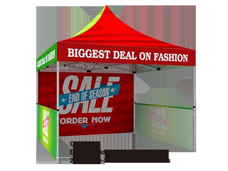 10x10 Custom Pop Up Canopy Tent u0026 Double-Sided Full Backwall u0026 2 x Single  sc 1 st  Signwin & 10x10 Tent u0026 2-Side Backwall u0026 2 Single Sided Half Sidewalls - Signwin