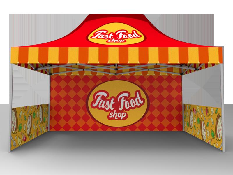 10x15 Custom Pop Up Canopy Tent & Double-Sided Full Backwall & 2 x Double-Sided Half Sidewalls