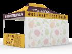 10x15 Custom Pop Up Canopy Tent & Single-Sided Full Backwall & 2 x Double-Sided Half Sidewalls