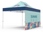 10x15 Custom Pop Up Canopy Tent & Single-Sided Full Backwall