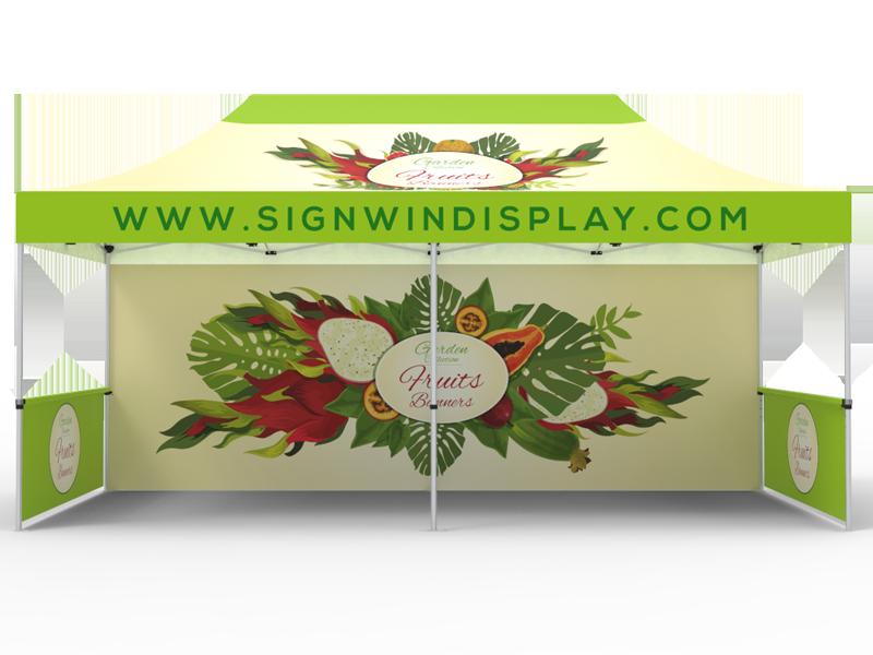 10x20 Custom Pop Up Canopy Tent & Single-Sided Full Backwall & 2 x Double-Sided Half Sidewalls