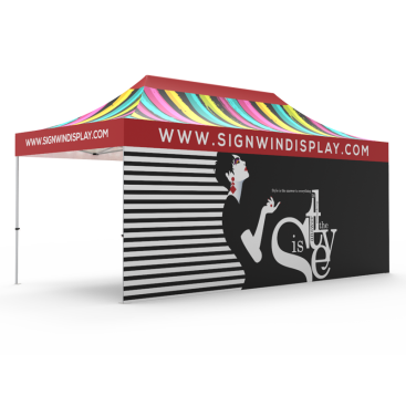 10x20 Custom Pop Up Canopy Tent & Double-Sided Full Backwall