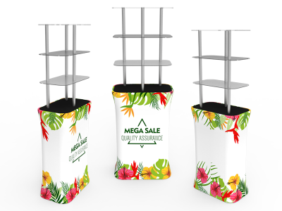 Rectangular Display Tower Counter with Fabric Printing