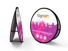 Small Circular Pop Up A-Frame Banner Stand