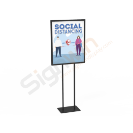 Social Distancing Poster Floor Display Stand Graphic Print 01