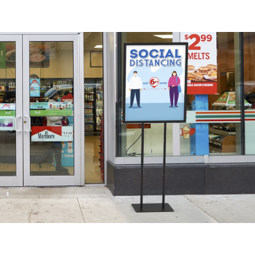 Social Distancing Poster Floor Display Stand Graphic Print 01 - Signwin