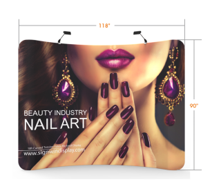 Custom 10ft Curved & Collapsible Tension Fabric Trade Show Backwall Display (Frame + Graphic)