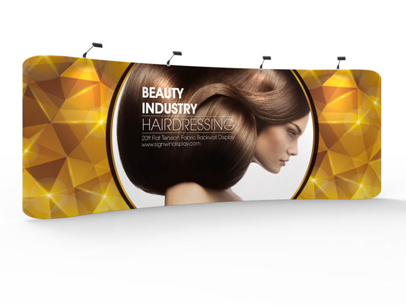 Custom 20ft Curved & Gorgeous Tension Fabric Trade Show Backwall Display (Frame + Graphic)