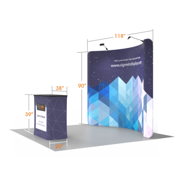 10ft Curved & Recyclable Tension Fabric Backwall Display with Durable Case to Podium