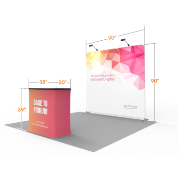Custom 8ft Flat & Zippered Tension Fabric Trade Show Booth Backwall Display with Durable Case to Podium (Frame + Graphic)