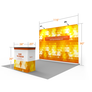 10ft Flat & Attractive Tension Fabric Backwall Display with Durable Case to Podium
