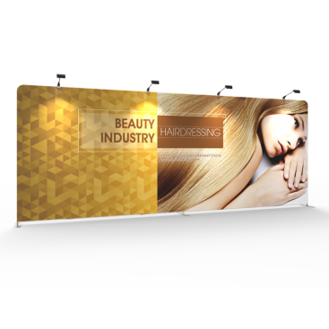 Custom 20ft Flat & Grand Tension Fabric Trade Show Backwall Display (Frame + Graphic)