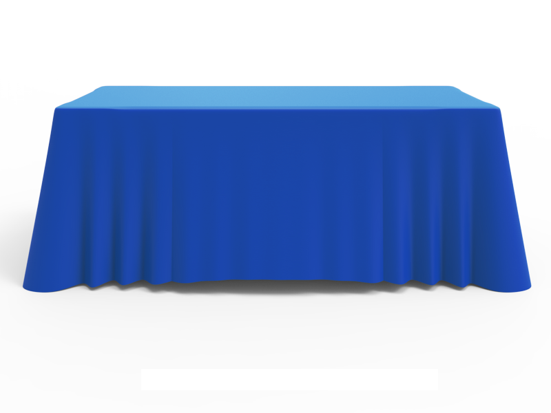6ft Unprinted Blue Versatile Loose Table Throw with Round Corners