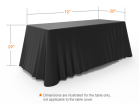 6ft Unprinted Black Versatile Loose Table Throw with Round Corners