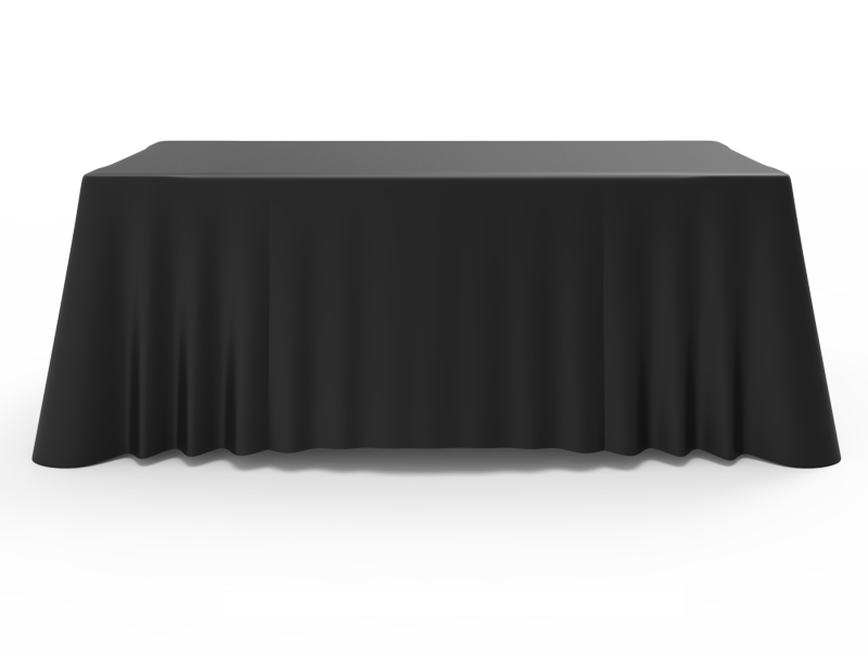 6ft Black Versatile Loose Table Throw With Round Corners
