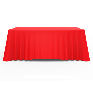 6ft Red Versatile Loose Table Throw with Round Corners