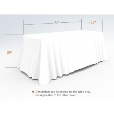 6ft Unprinted White Versatile Loose Table Throw with Round Corners