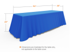 8ft Blue Versatile Loose Table Throw with Round Corners