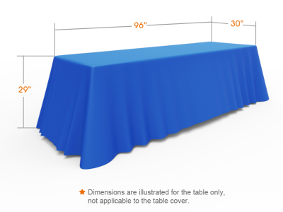 8ft Unprinted Blue Versatile Loose Table Throw with Round Corners