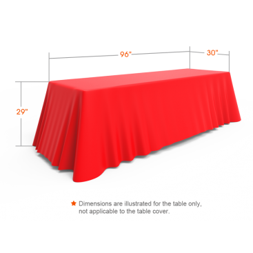 8ft Red Versatile Loose Table Throw with Round Corners