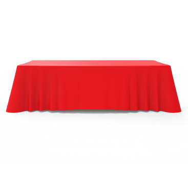 8ft Unprinted Red Versatile Loose Table Throw with Round Corners