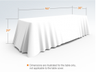 8ft Unprinted White Versatile Loose Table Throw with Round Corners