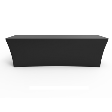 8ft Black Stretch Fit Open Back Table Cover