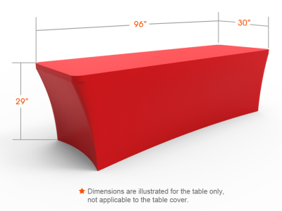 8ft Unprinted Red Stretch Fit Open Back Table Cover