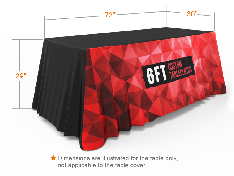 6ft 3 Sided Loose Table Throw Custom Printing With Logo