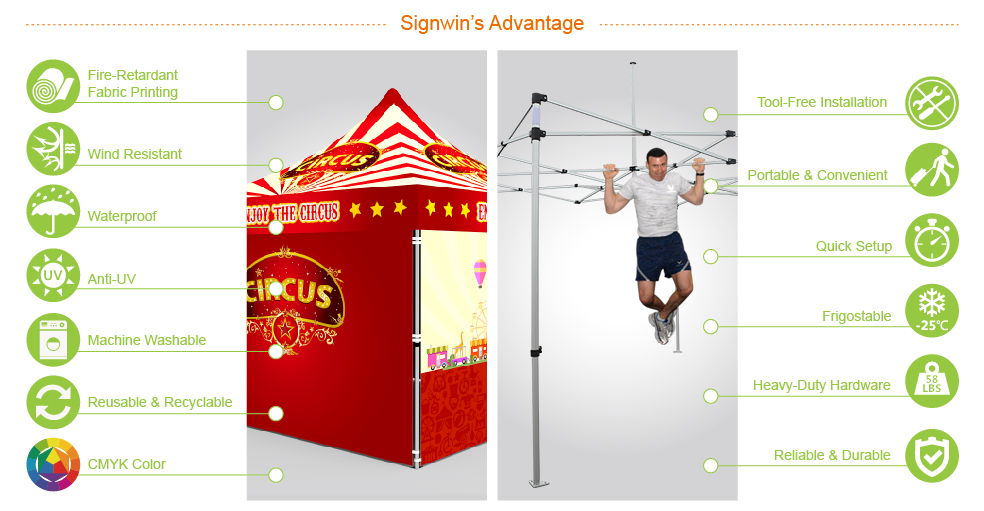 Signwin-10x10 Custom Pop Up Canopy Tent & 4 x Double-Sided Full Walls_10X10-HL-CT10_Advantage