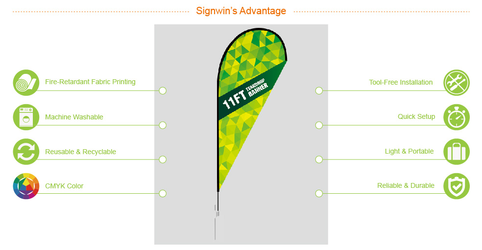 Signwin 11ft Custom Teardrop Feather Flag with Ground Stake 11-TP-TFGS advantage