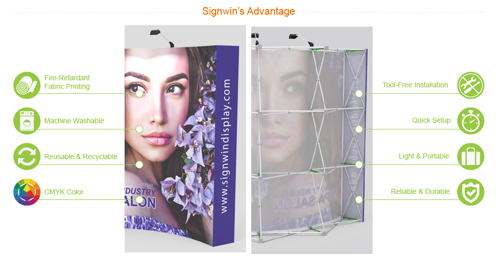 Signwin 10ft Curved & Fabric Pop Up Backwall Display PB-A-02 Advantage